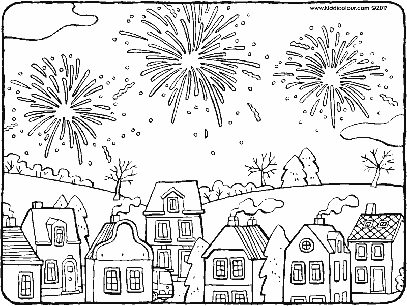 wintervakantie kleurprenten  kiddicolour  feuerwerk