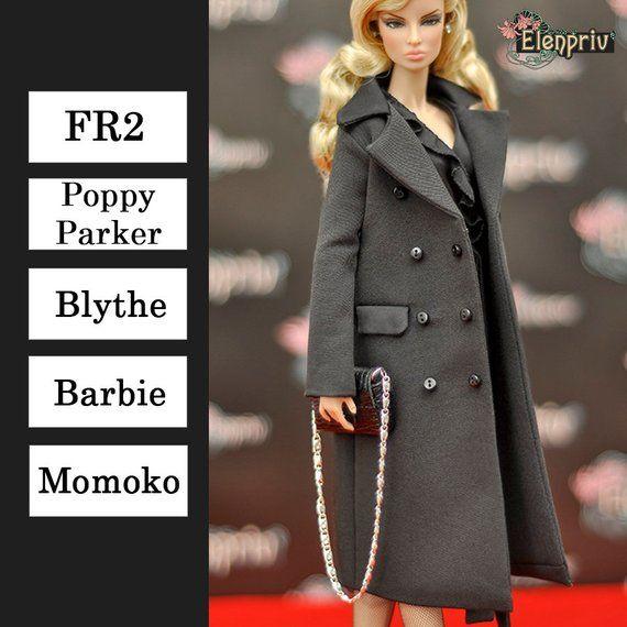 f90d6bedf9 ELENPRIV black coat {Choose size} Fashion royalty FR2 Poppy Parker Blythe  Barbie Silkstone Curvy