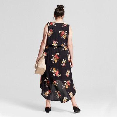 Women's Plus Size Floral Feminine Dress - Ava & Viv Black 2X