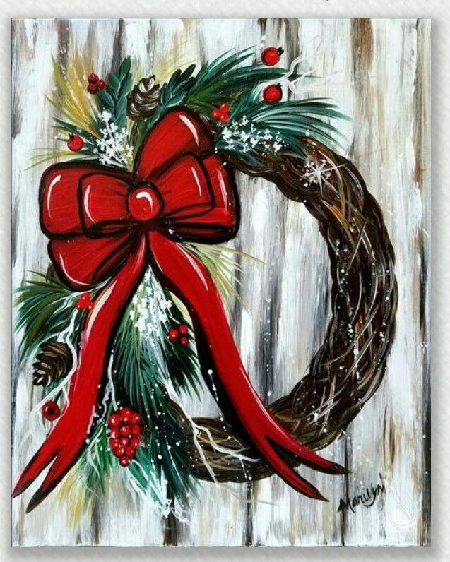 Christmas Wreath Diy christmas paintings, Holiday