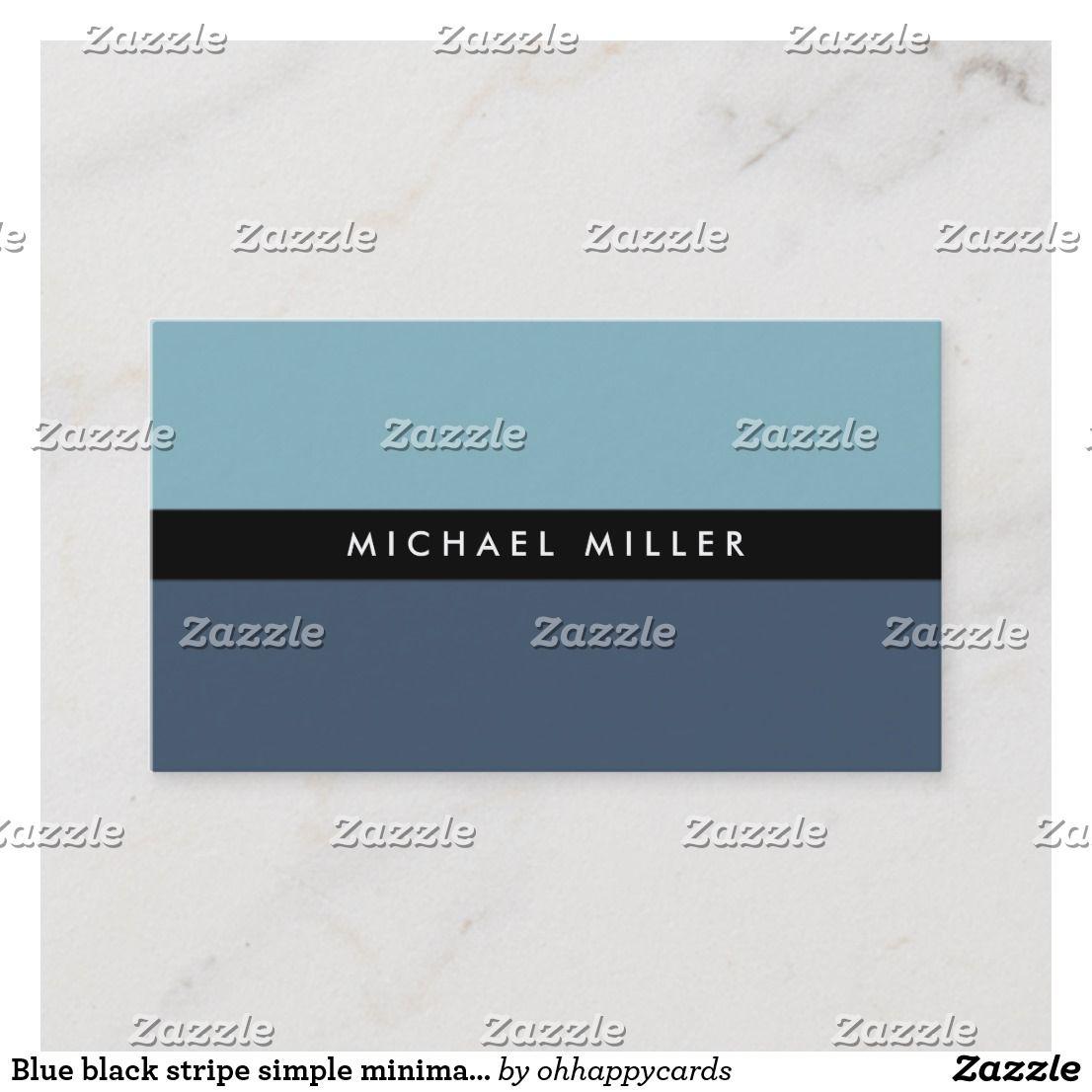 Carte de visite blue black stripe simple smart masculine