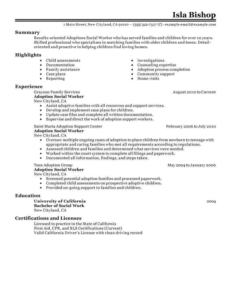 Resume for social Work Famous Best Adoptions social Worker