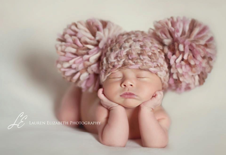 f20b0bc8a29 READY To SHIP Baby Girl Hat Newborn Baby Girl Crochet Chunky Pom Pom Hat  Cream
