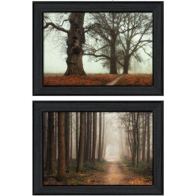 Trendy Decor 4U 'Misty Trees' by Martin Podt 2 Piece Framed Graphic Art Set