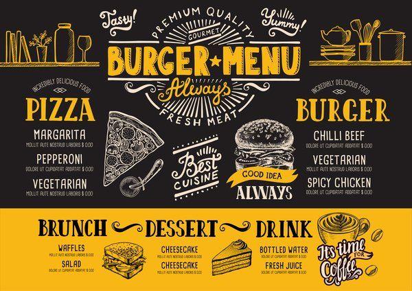 Eps File Vintage Burger Menu Template Vecteur Materiel 13