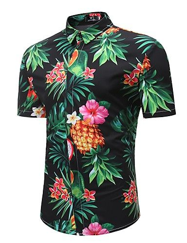 05aaea6f9370c 17.81  Men s Beach Boho Plus Size Cotton Shirt - Tropical Pineapple ...