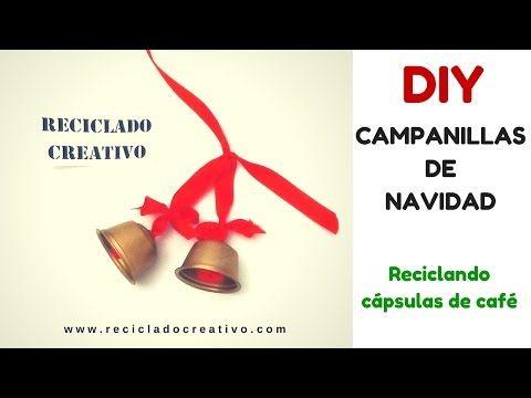 DIY Campanillas decorativas de Navidad con cápsulas de café recicladas - YouTube
