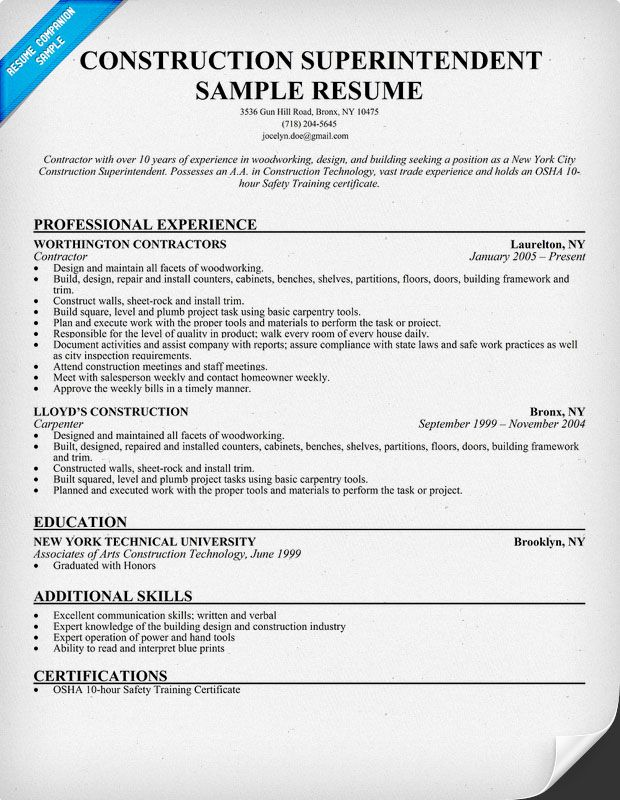 Construction Superintendent Resume Sample