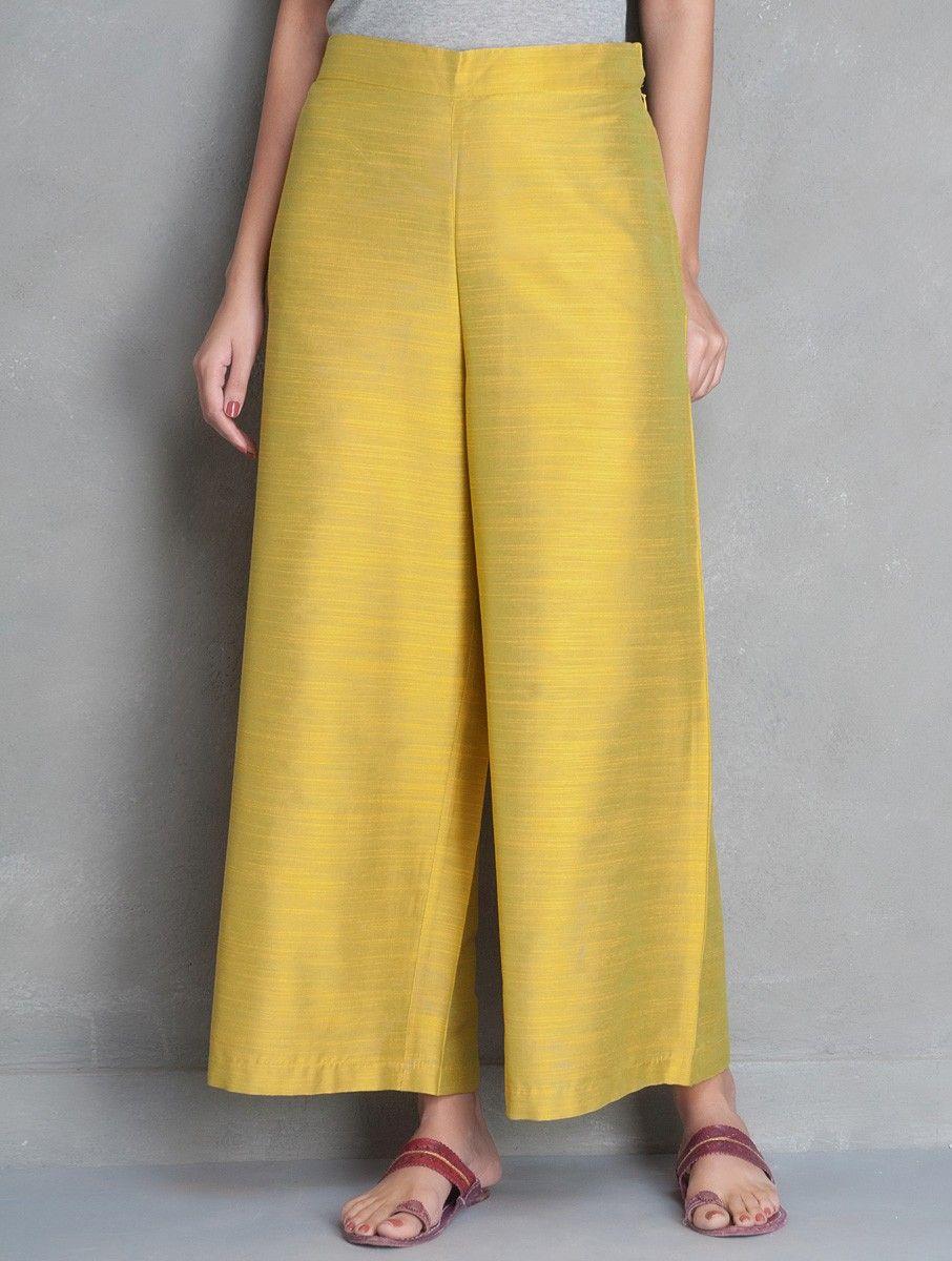 2d96655b9c Mustard Yellow Elasticated Waist Cotton Silk Palazzos | Ethnic Wear ...