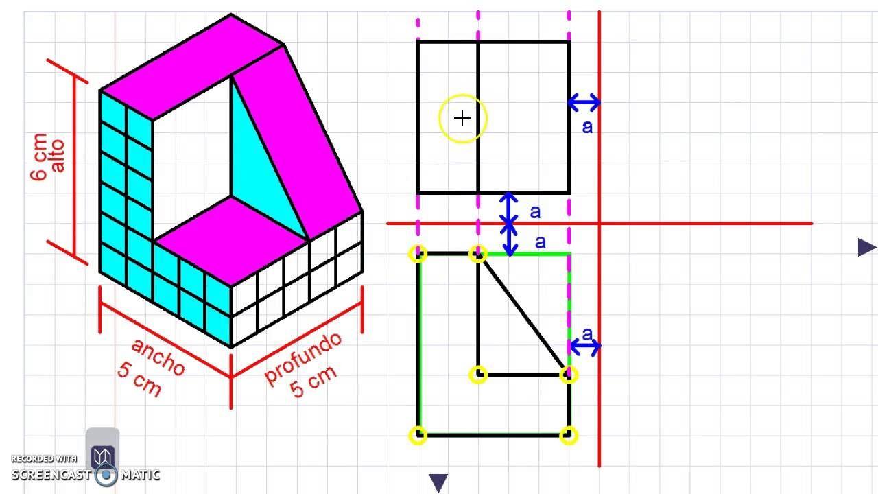 Vistas De Un Solido Con Plano Inclinados Por Proyecciones Ortogonales Proyecciones Ortogonales Ejercicios De Dibujo Planos