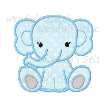 Baby Elephant Applique Machine Embroidery Design Digital
