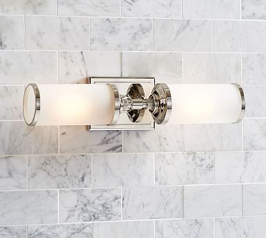 Benchwright Double Horizontal Sconce, Polished Nickel. Two For Either Side  Of Mirror Vertically, · Bathroom SconcesBathroom LightingBeach ...