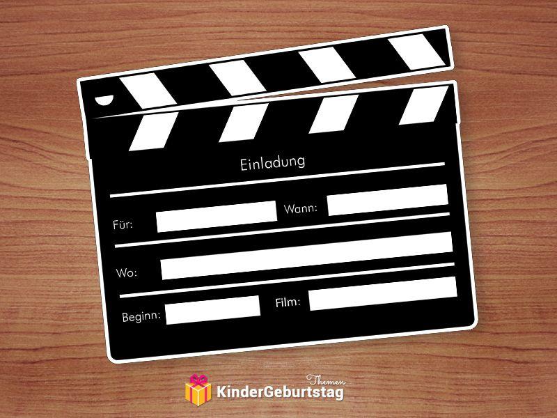 Kino Einladung Druckvorlage Fur Popcorn Karte Und Filmklappe Einladung Kindergeburtstag Geburtstagseinladungen Kinder Einladungen