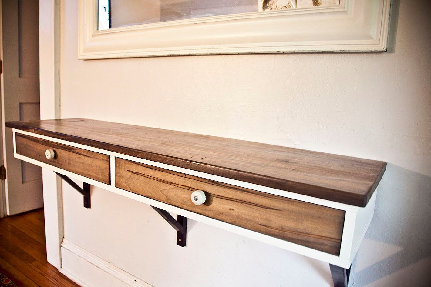 Floating entry table made to order modified ikea shelf for Floating console table ikea