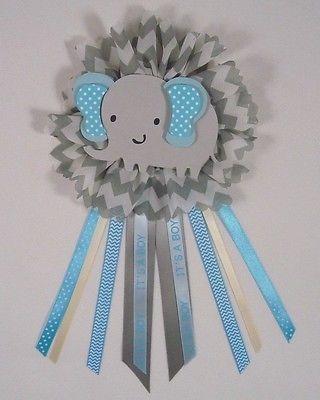 Baby Shower Corsage Elefante Tema Azul Y Gris De Elefante 2 Un