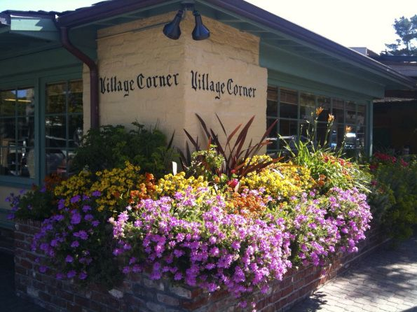 Village Corner Mediterranean Bistro, Carmel-by-the-Sea with its central location at Dolores and Sixth.