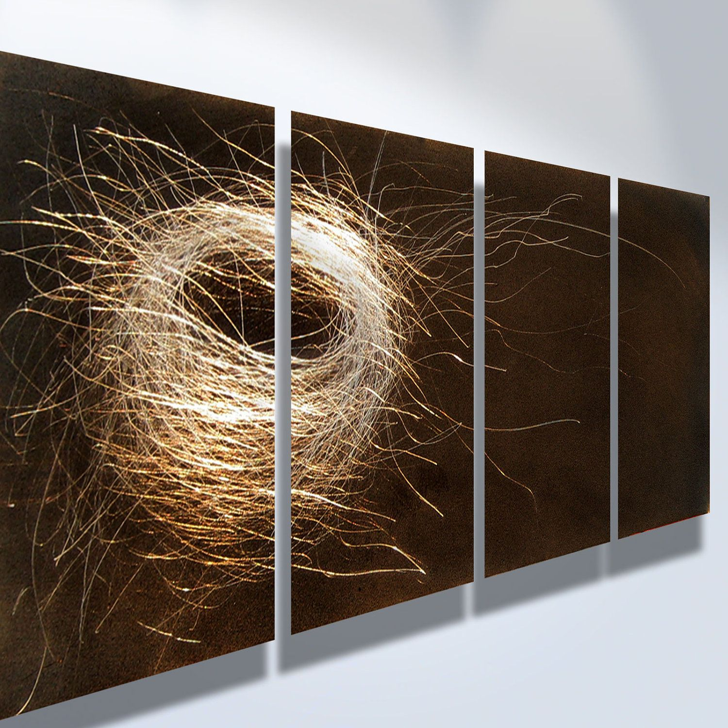 Metal Art Wall Art Decor Abstract Contemporary Modern Sculpture Hanging Zen  Textured Nature  Nest 1