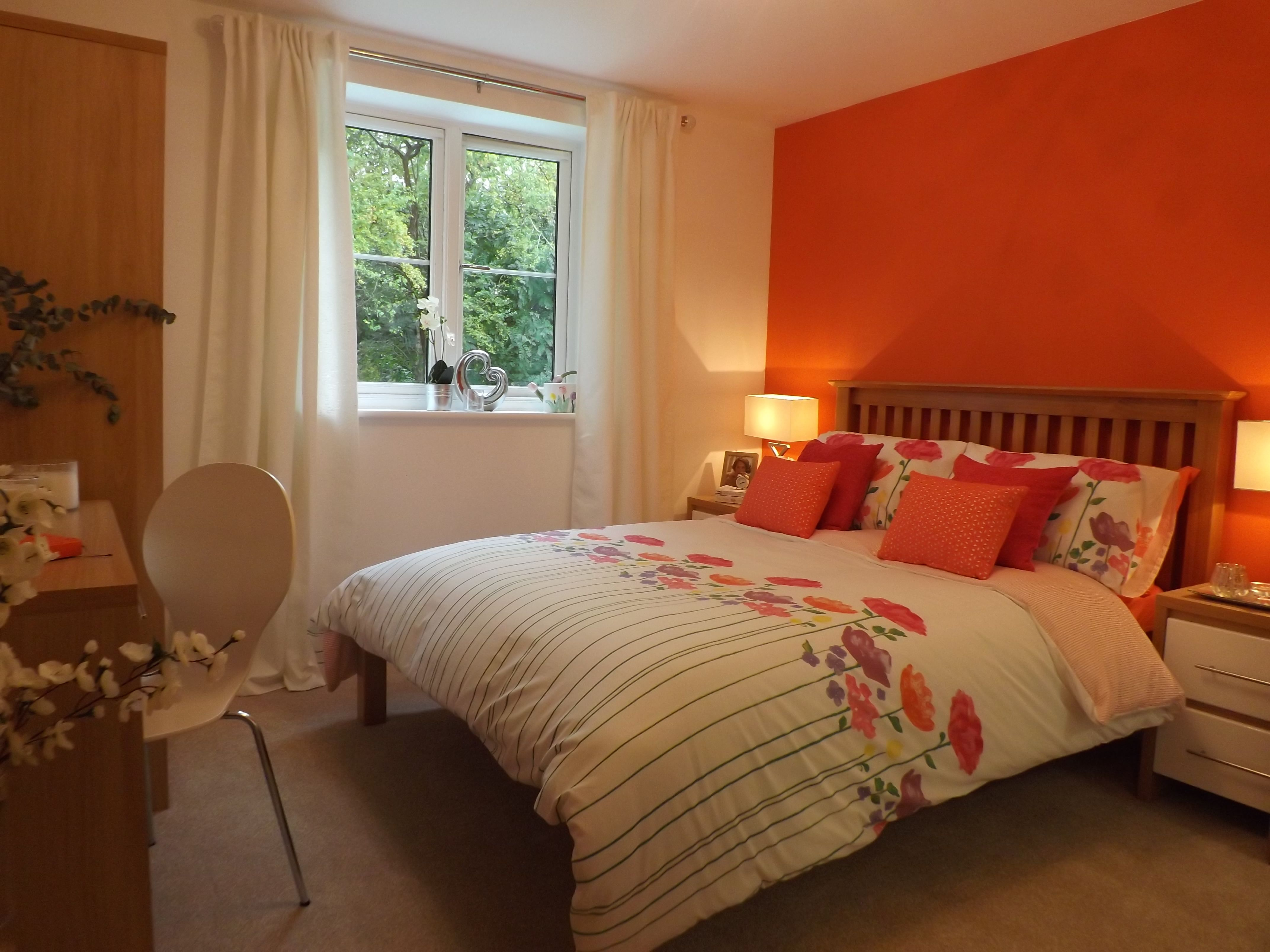 Master Bedroom Modern Vibe Orange Feature Wall