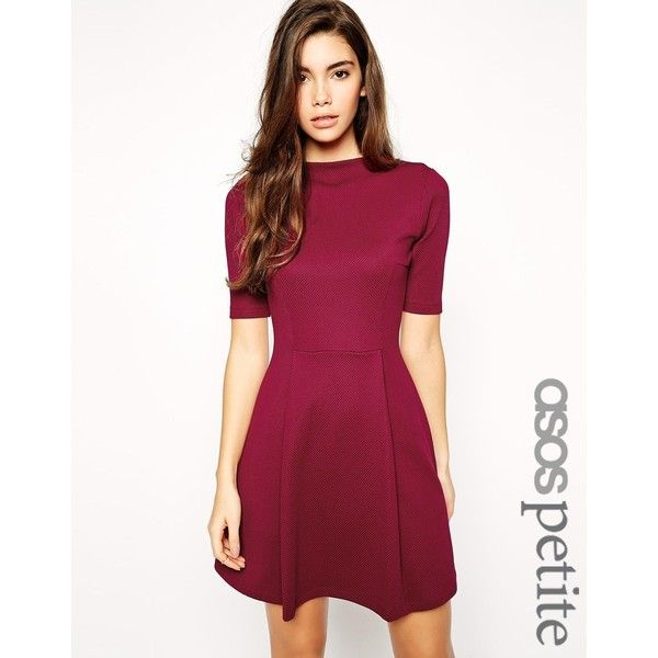 92226fef009 ASOS PETITE Skater Dress in Texture With Funnel Neck (€25) ❤ liked on  Polyvore featuring dresses