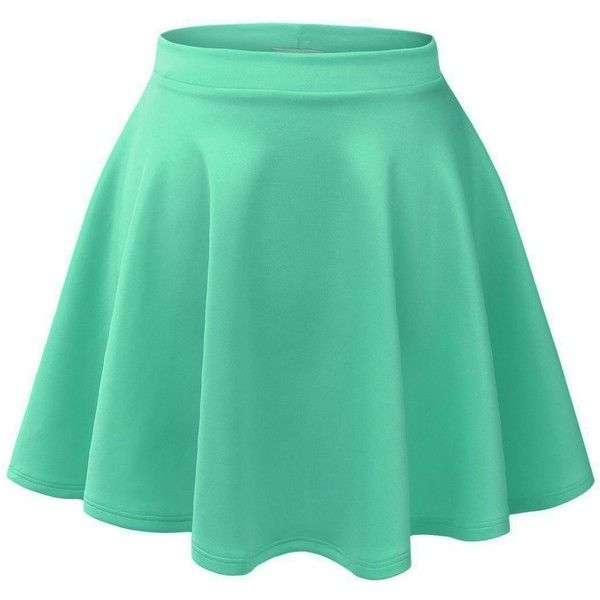 VIV Collection Womens Versatile Stretchy Flared Skater... (100 NOK) ❤ liked on Polyvore featuring skirts, bottoms, dresses/skirts, saias, stretch skirt, flared skirt, green skirt, flared hem skirt and green skater skirt