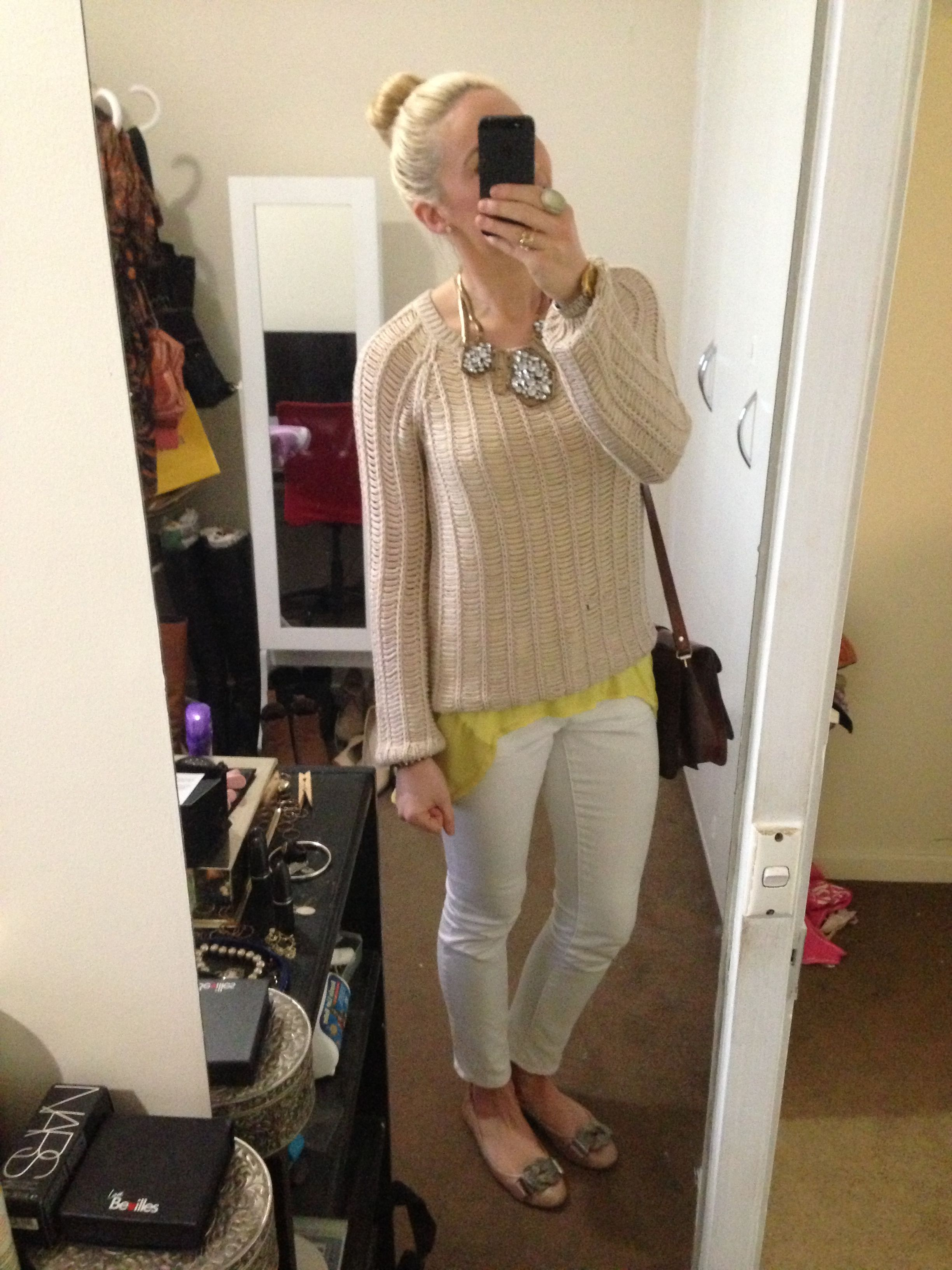 Style: Sportsgirl knitted jumper, yellow tank top, white Target jeans and Tony Bianco ballet flats