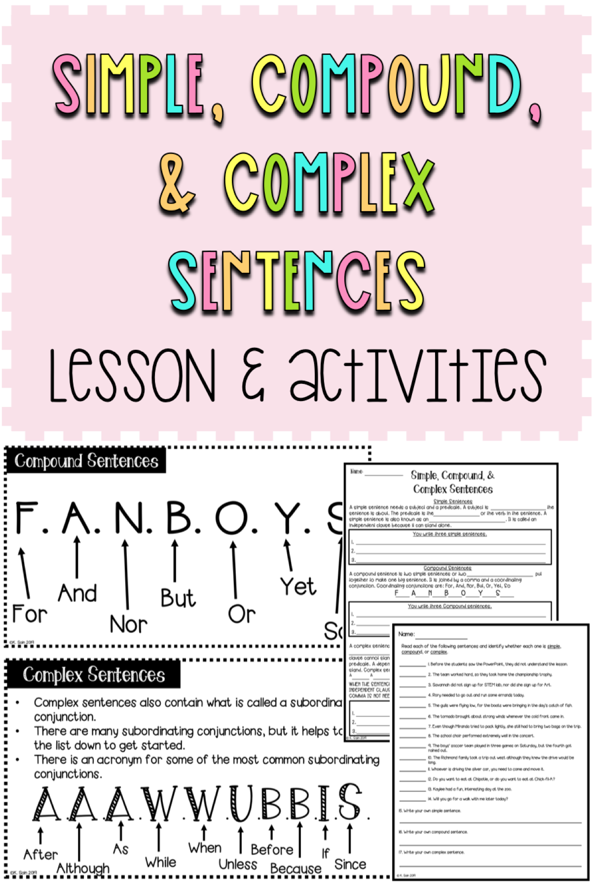 Simple Compound And Complex Sentence Lesson Amp Activities
