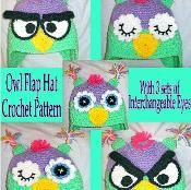 Owl Flap hat with Interchangeable Eyes   - via @Craftsy