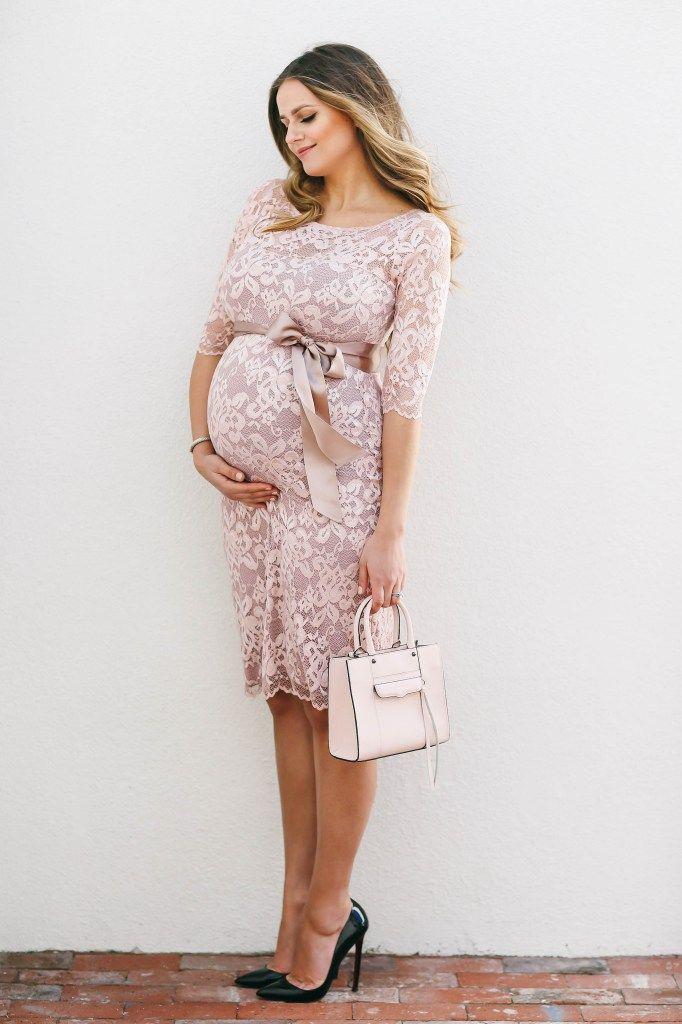 67c392ebd7376 #BumpStyle // Blush Pink Lace Maternity Dress | BondGirlGlam.com