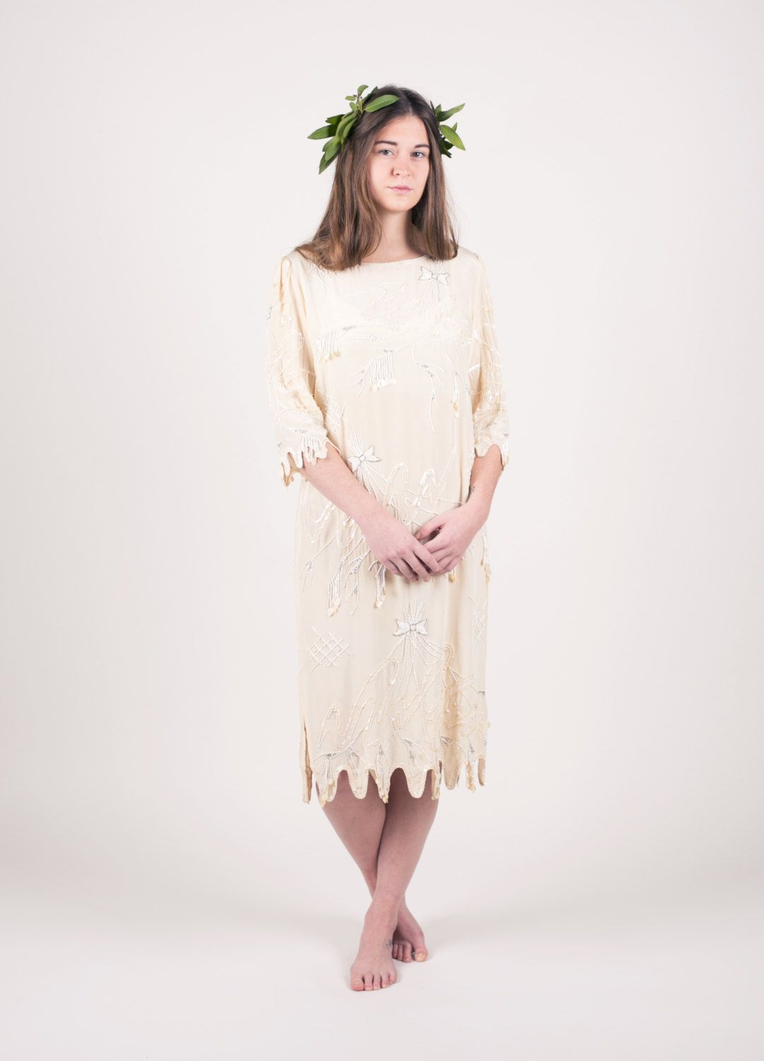 Beaded boho wedding dress cream cocktail dress by shopfuture