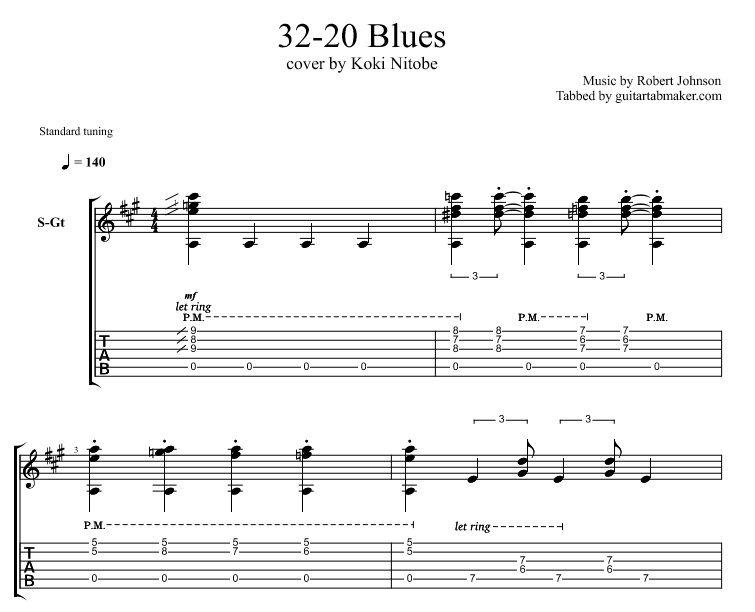 Robert Johnson - 32 20 Blues guitar TAB - acoustic guitar