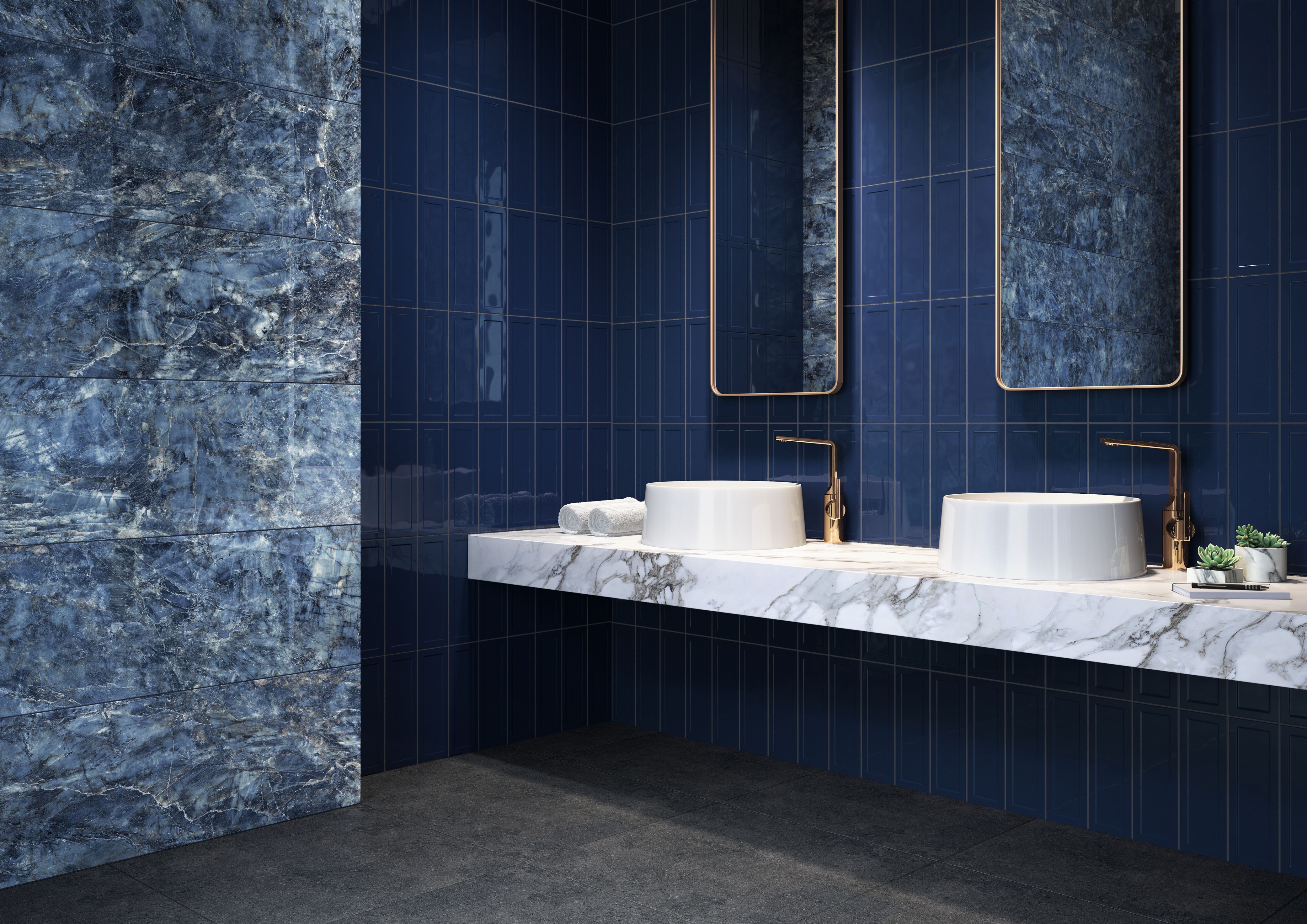 Homemade X Marble Vanity Countertop And Blue Tiles Brass Mirrors And Round Basins With Gold Taps Bathroom Vanity Designs Restroom Design Bathroom Design Luxury
