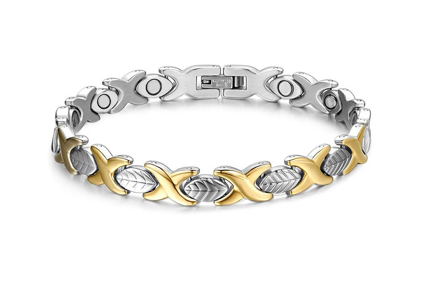 Mens womens stainless steel magnetic link bracelet bangle with free