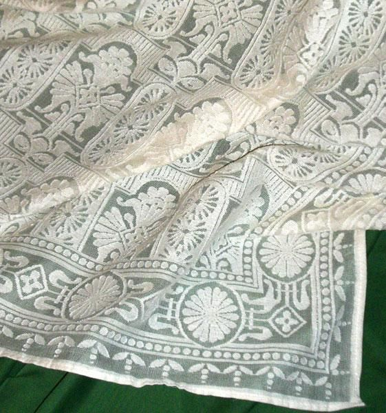 Eastlake style lace pattern. Would be great as a sheer; could possibly overlay on an unbleached linen Roman shade for a subdued pattern.