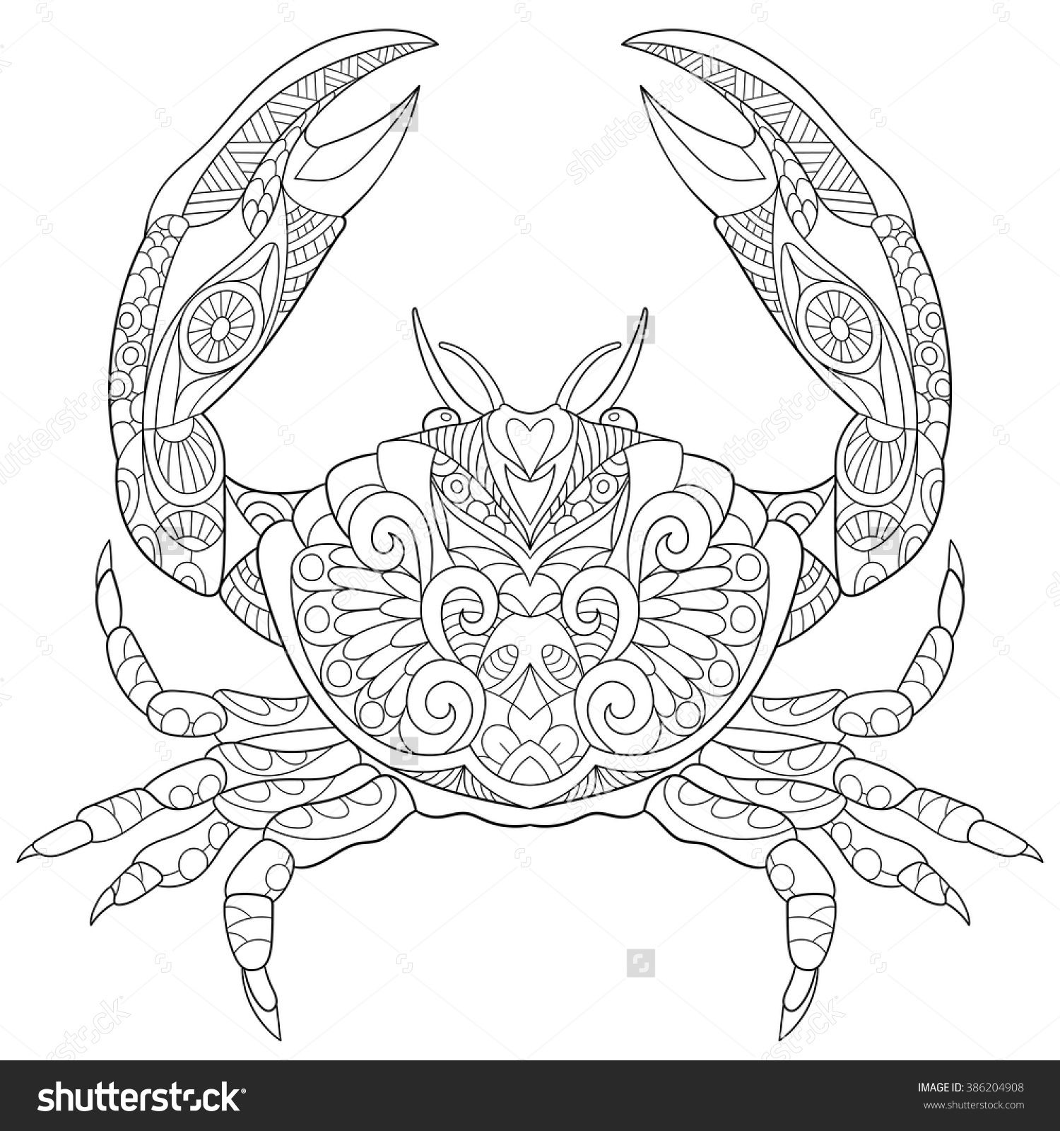 Ocean Crab Coloring Page Adult By ColoringPageExpress
