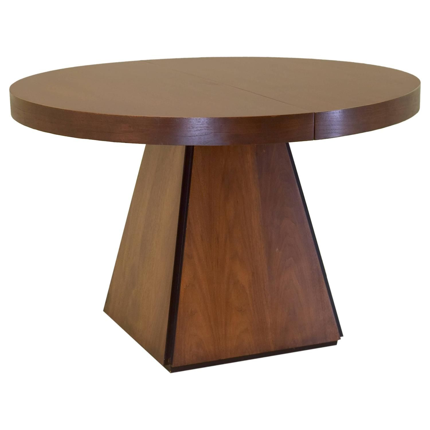 Pierre Cardin Round Obelisk Dining Table In Walnut With Extension