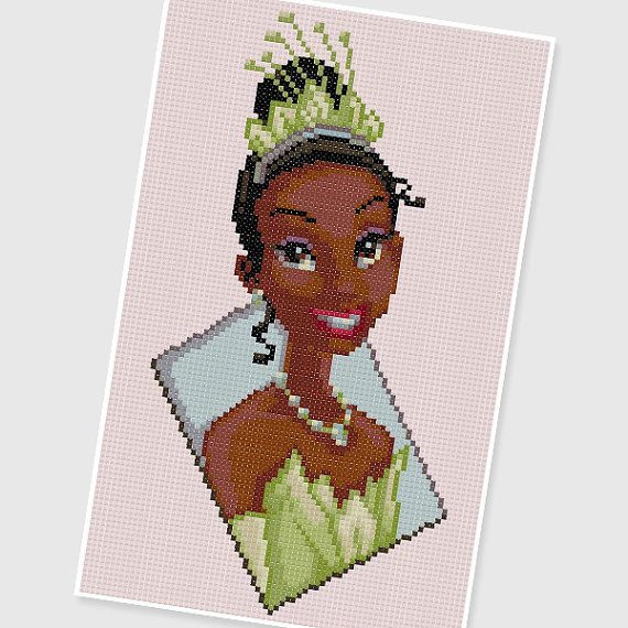PDF Cross Stitch pattern  0002.Princess Tiana  The door PIXcross