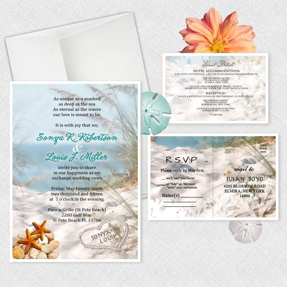 Details about Ocean Theme Wedding Invitations Personalized BEACH ...