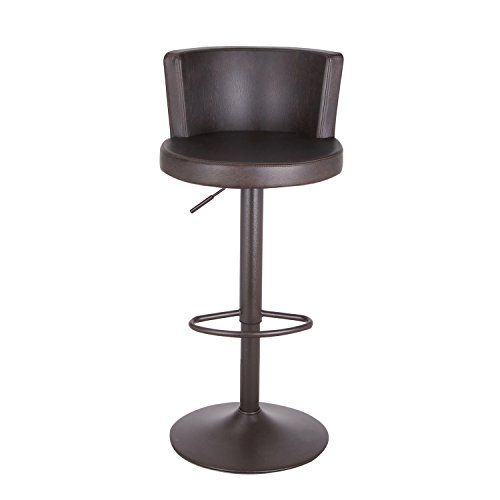 Adeco Adjustable Swivel Barstool Chair With Low Curved Back Brown