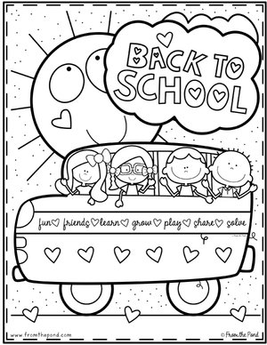 Back To School Coloring Page From The Pond School Coloring
