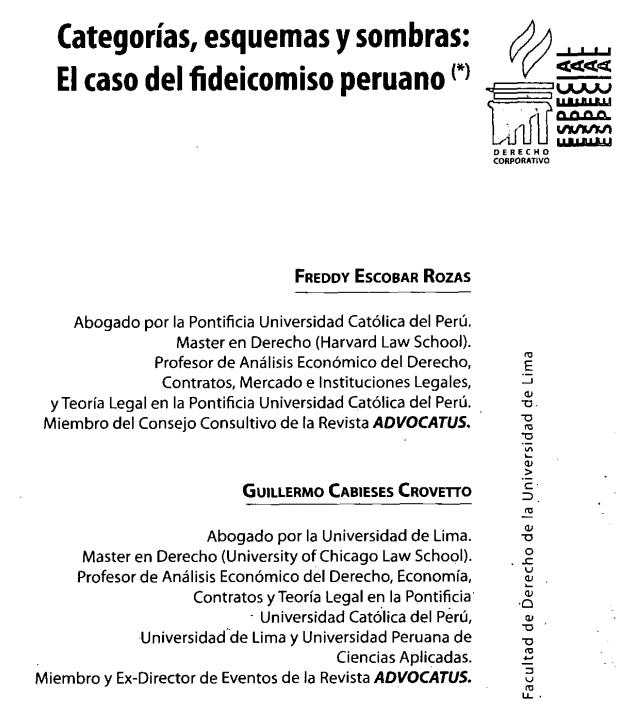 """Descarga el siguiente #articles #artículos de #accesoabierto #openaccess  http://bit.ly/1TVMIBx Categorías, esquemas y sombras: el caso del fideicomiso peruano Cuál es el papel obstructivo que juegan los conceptos legales en la ley civil. y, la noción filosófica y legal de """"derecho"""". Todos esto, analizado en el fideicomiso peruano. http://bit.ly/1TVMIBx"""
