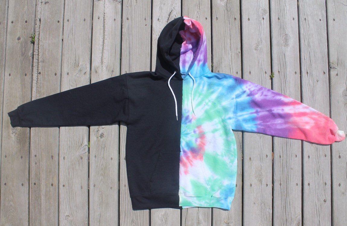 Medium Unisex Half Black Half Tie Dye Hand Sewn Handmade Hoodie Sweatshirt Hoodie Diy Diy Tie Dye Shirts Tie Dye Diy [ 750 x 1150 Pixel ]