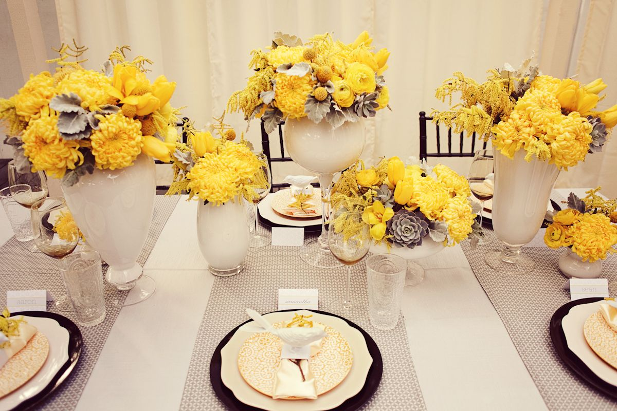 Wedding decorations yellow and gray  yellow and grey on e of my favorites  orange yellow wedding flowers