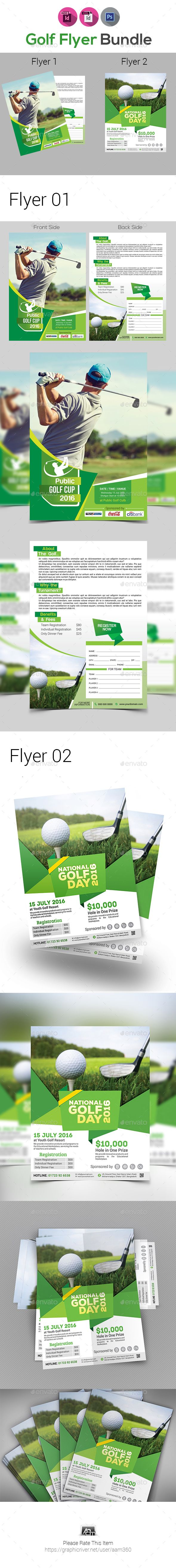 Golf Tournament Flyer Bundle  Flyer Template Adobe Indesign And