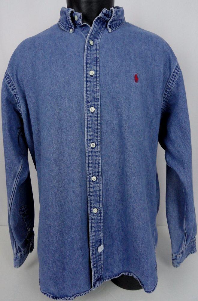 1154e5cd9c Ralph Lauren Denim Shirt XL Mens Red Polo Pony Classic Fit LS Cotton Button  Up  RalphLauren  ButtonFront