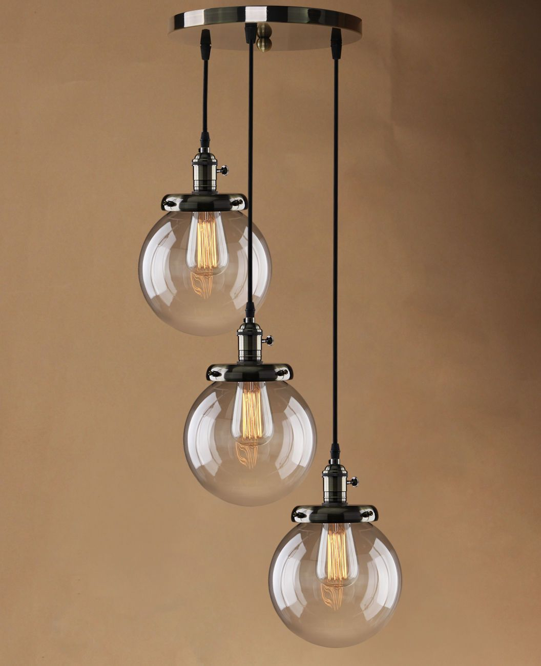Retro Vintage Cluster Hanging Ceiling Lights Globe 3 Glass Shades Pendant Lamp