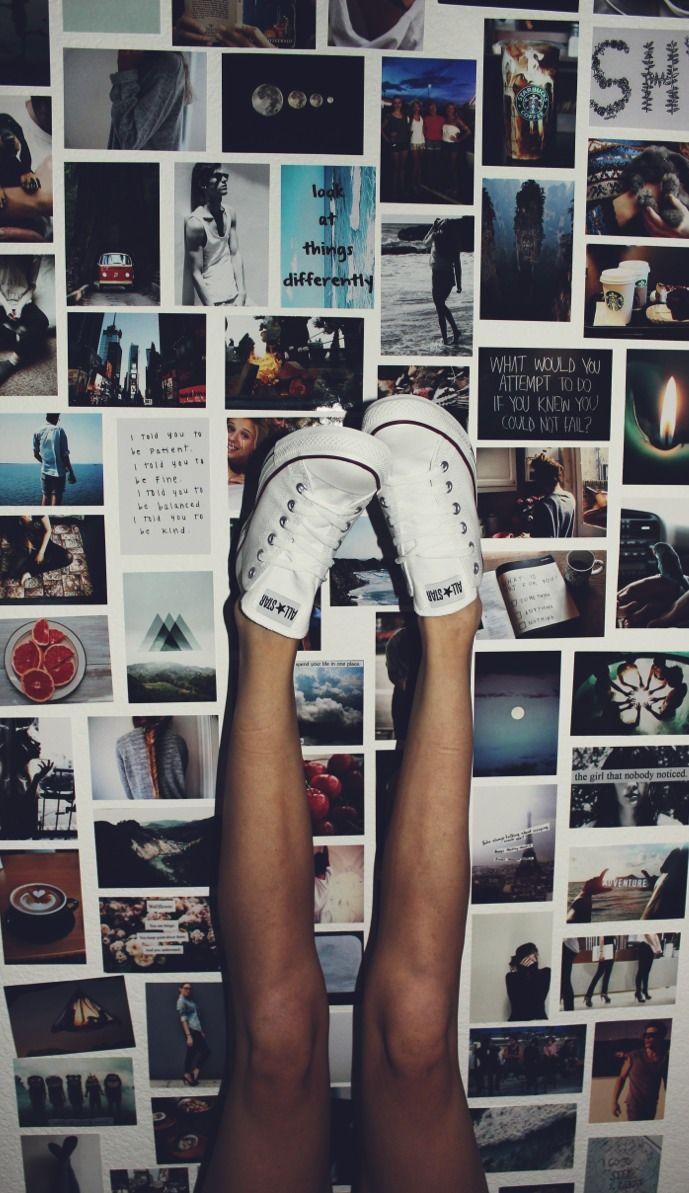 Polaroid wall on tumblr - Polaroids And Converse