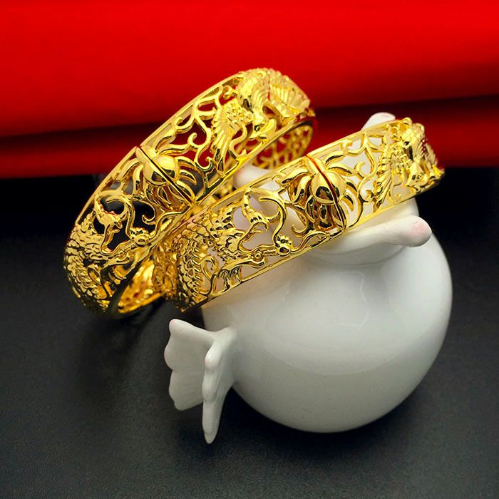Fashion Gold Plated Bracelets Cuff Bangles Chinese Style Dragon ...