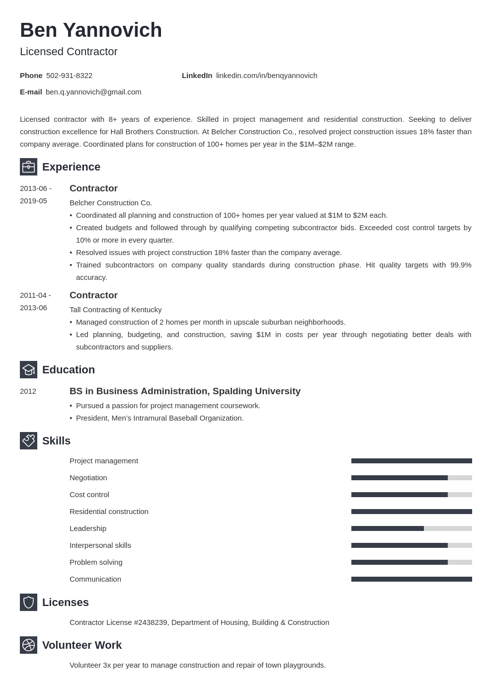 Contractor Resume Example Template Newcast Job Resume Examples Resume Examples Resume