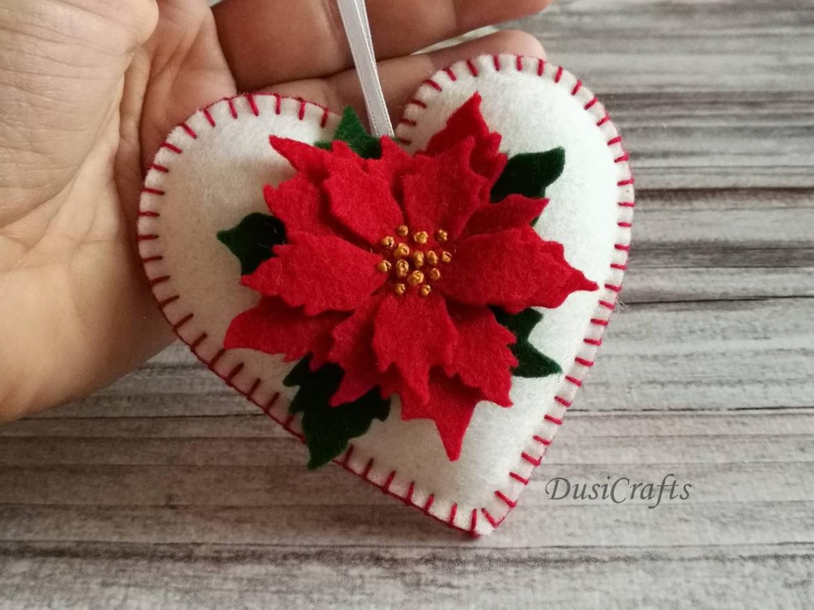 Felt Poinsettia ornament White Heart ornament with Red