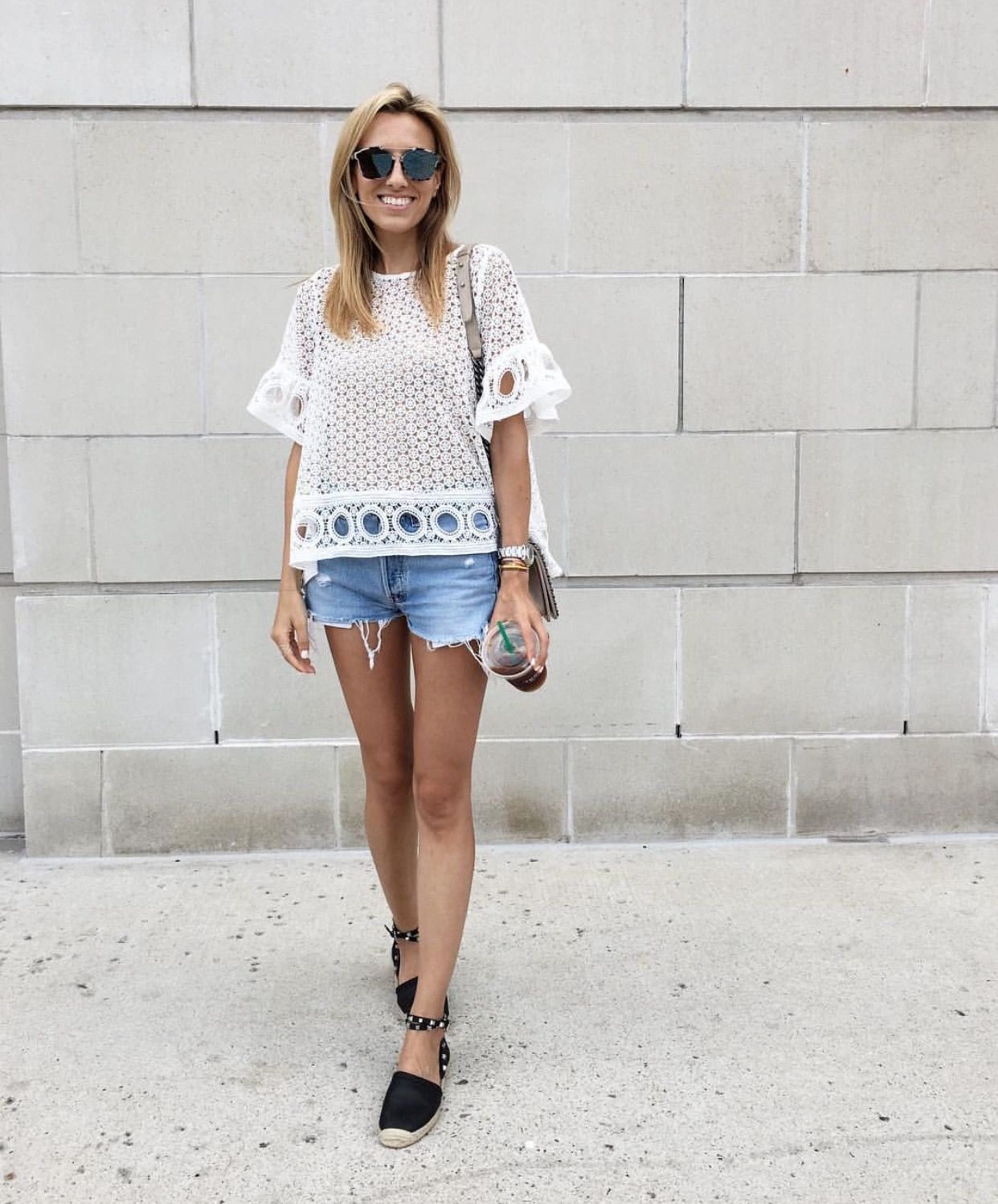 Cut off denim shorts, white crochet too, espadrilles outfit